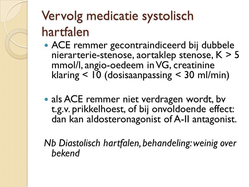 Vervolg medicatie systolisch hartfalen