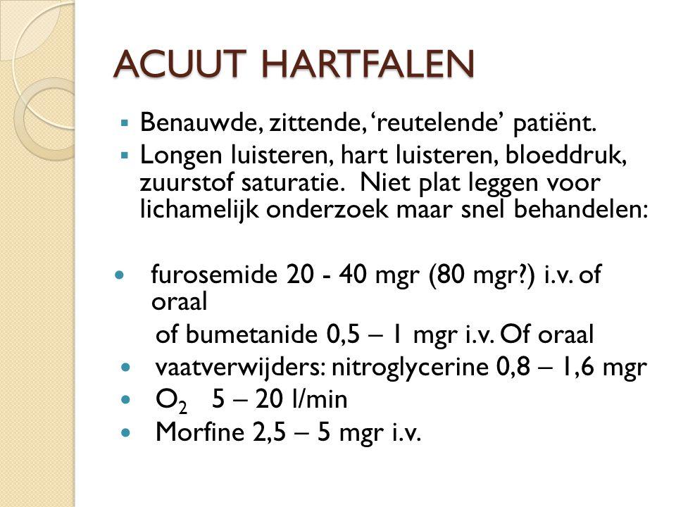 ACUUT HARTFALEN Benauwde, zittende, 'reutelende' patiënt.