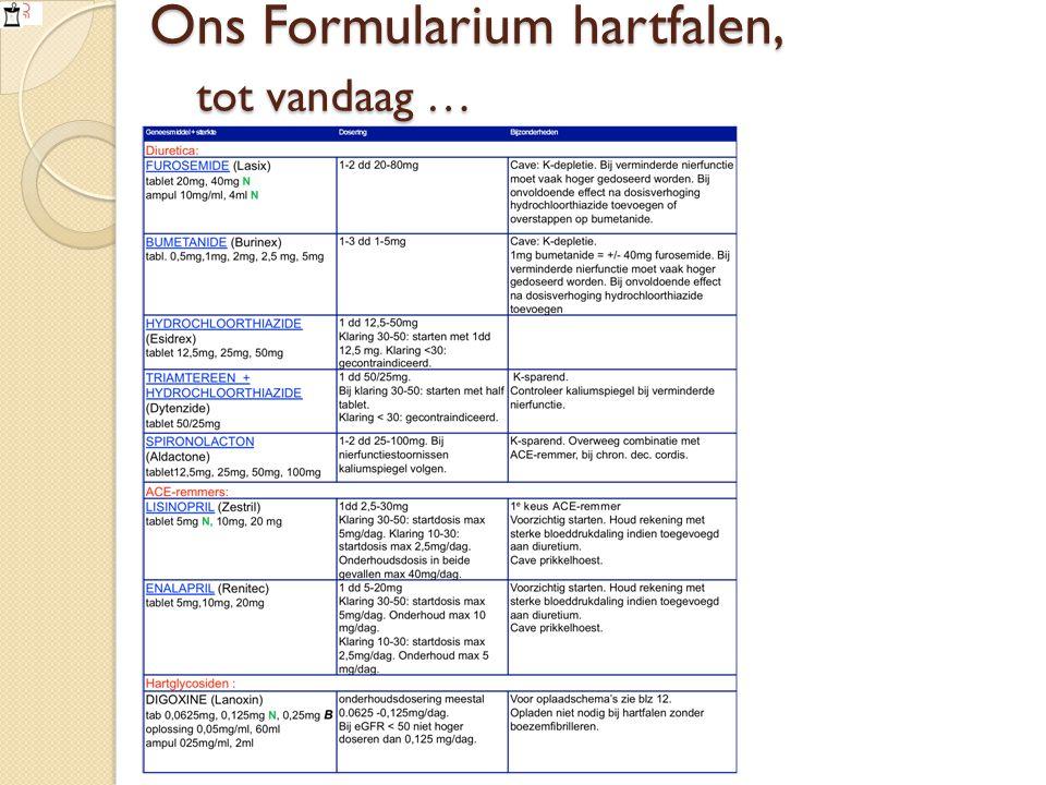 Ons Formularium hartfalen, tot vandaag …