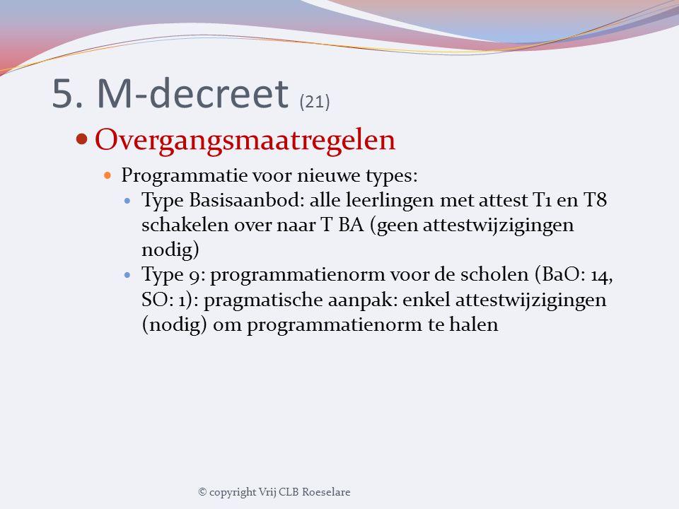 5. M-decreet (21) Overgangsmaatregelen Programmatie voor nieuwe types: