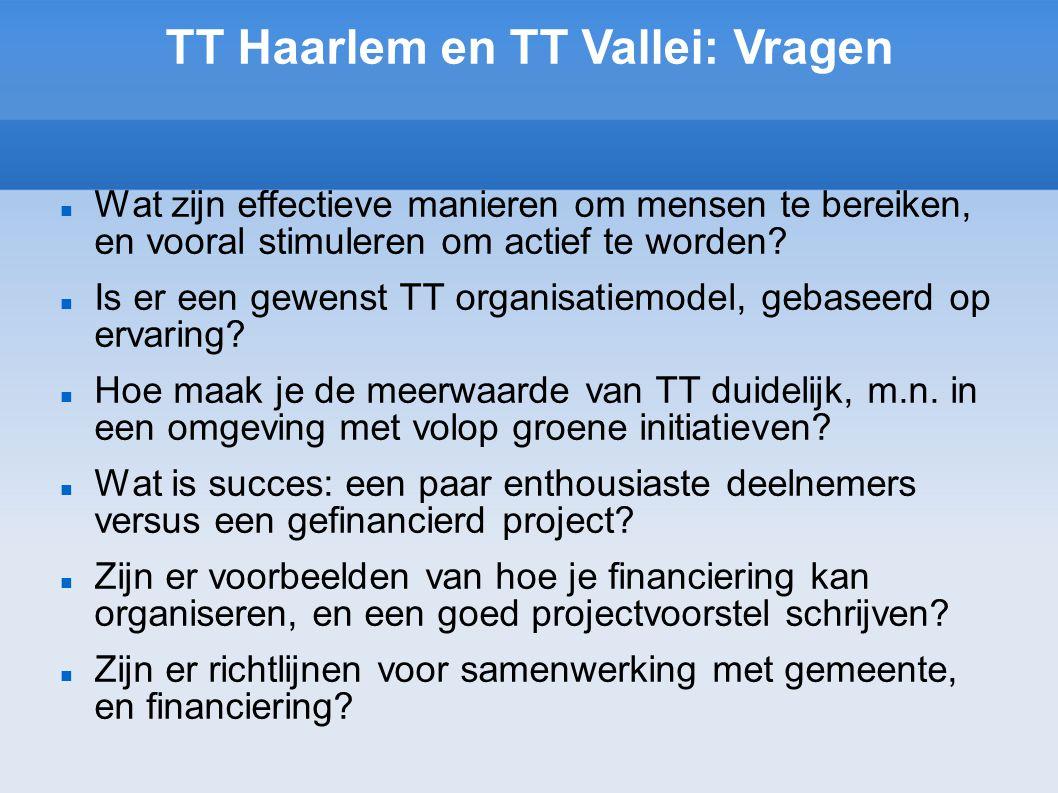 TT Haarlem en TT Vallei: Vragen