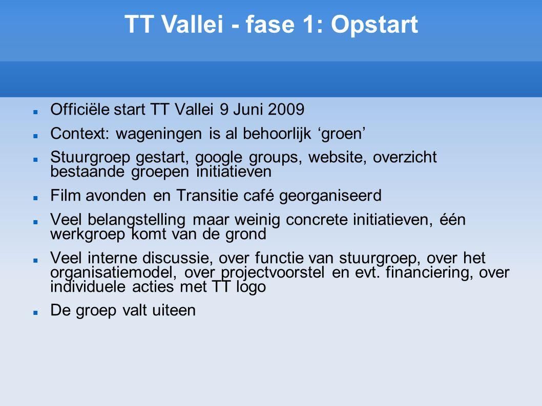 TT Vallei - fase 1: Opstart