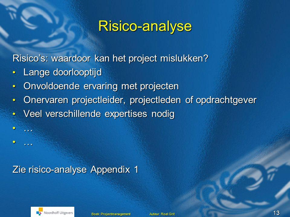 Risico-analyse Risico's: waardoor kan het project mislukken