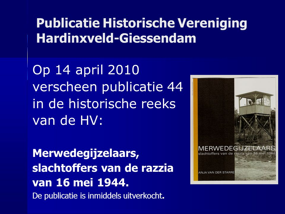 Publicatie Historische Vereniging Hardinxveld-Giessendam