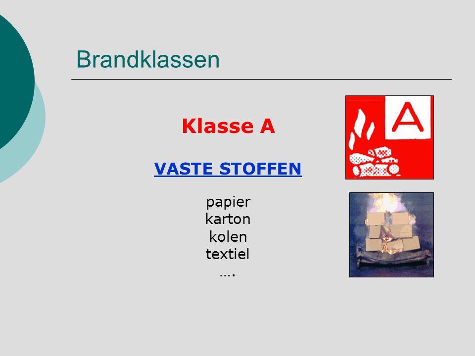 Brandklassen Klasse A VASTE STOFFEN papier karton kolen textiel ….
