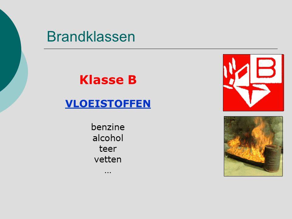 Brandklassen Klasse B VLOEISTOFFEN benzine alcohol teer vetten …