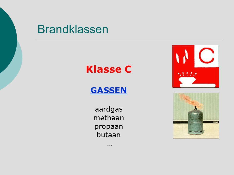 Brandklassen Klasse C GASSEN aardgas methaan propaan butaan …
