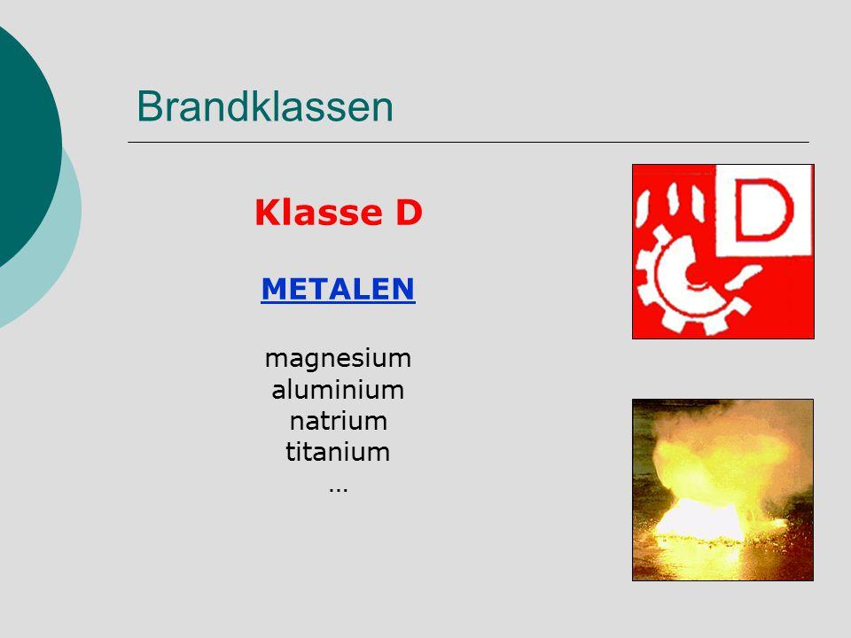 Brandklassen Klasse D METALEN magnesium aluminium natrium titanium …