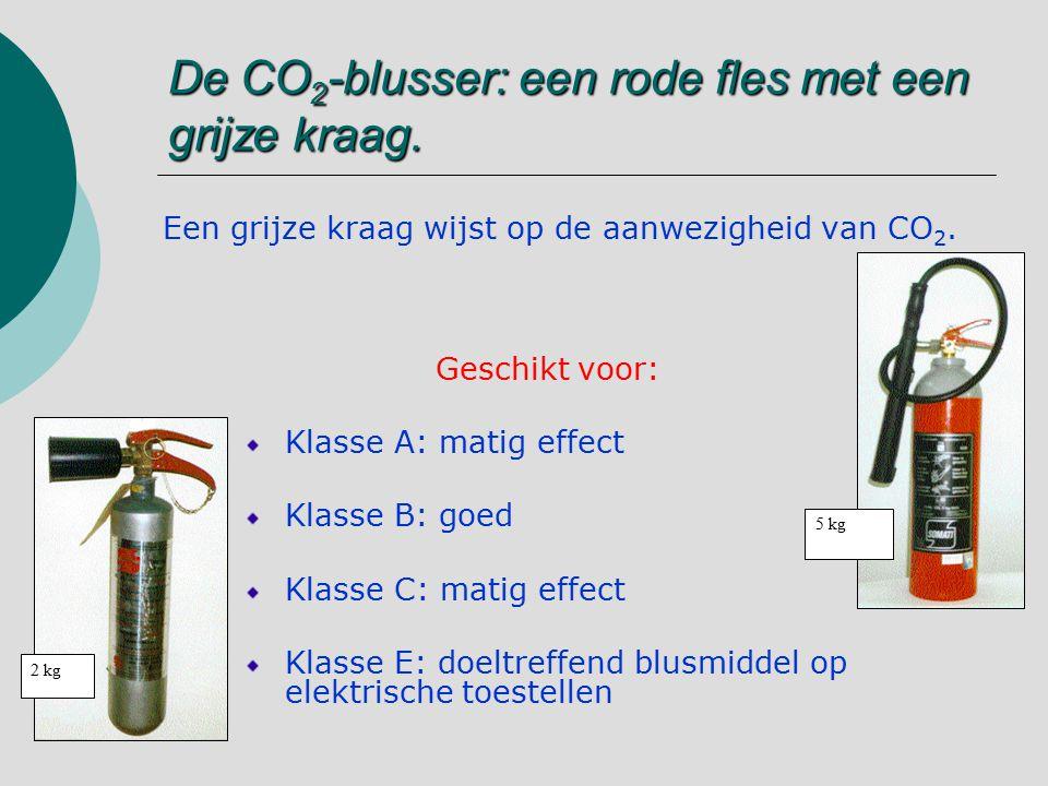 De CO2-blusser: een rode fles met een grijze kraag.