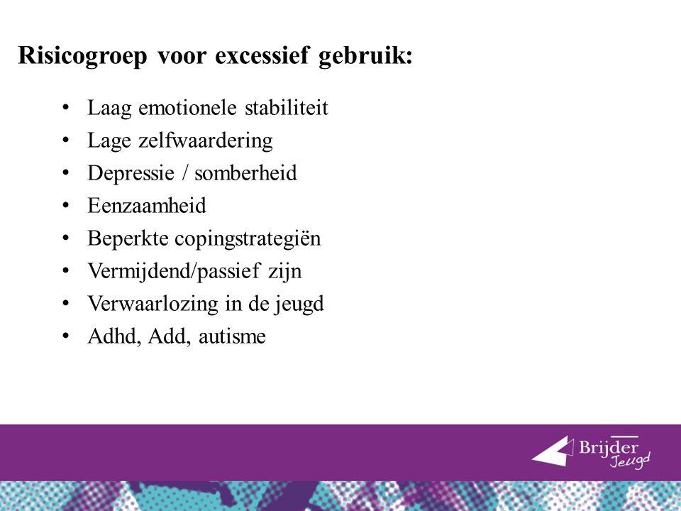 Risicogroep voor excessief gebruik: