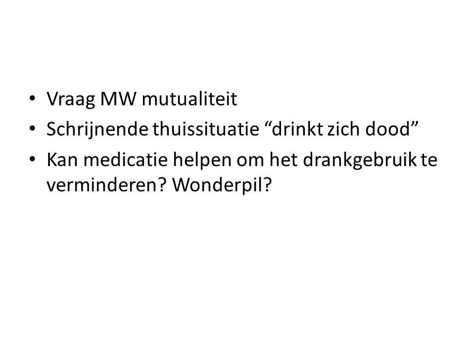 Vraag MW mutualiteit Schrijnende thuissituatie drinkt zich dood Kan medicatie helpen om het drankgebruik te verminderen.