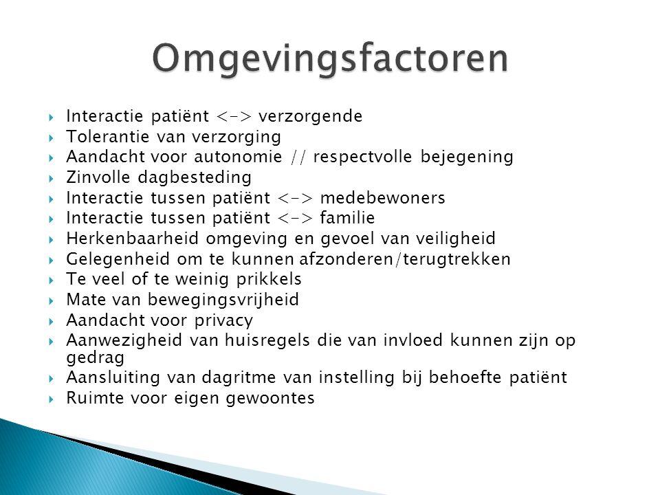 Omgevingsfactoren Interactie patiënt <-> verzorgende