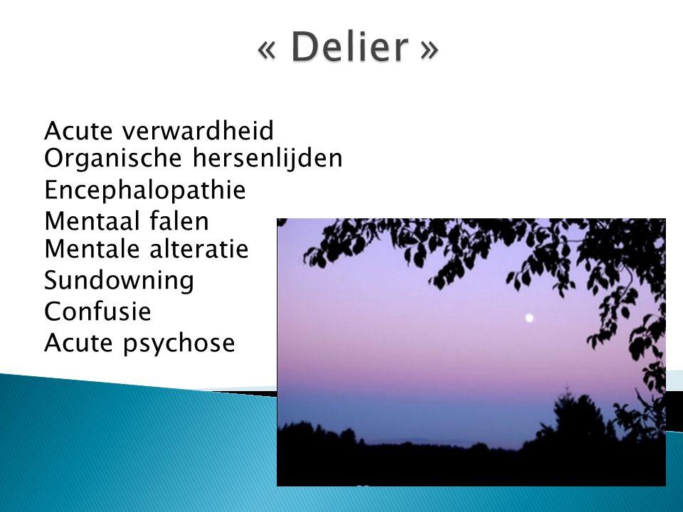 « Delier » Acute verwardheid Organische hersenlijden Encephalopathie