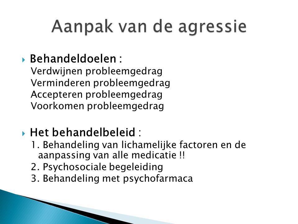 Aanpak van de agressie Behandeldoelen : Het behandelbeleid :