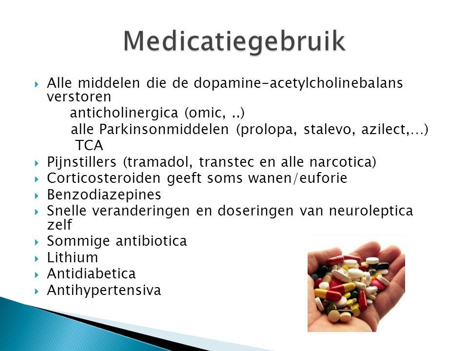 Medicatiegebruik Alle middelen die de dopamine-acetylcholinebalans verstoren. anticholinergica (omic, ..)