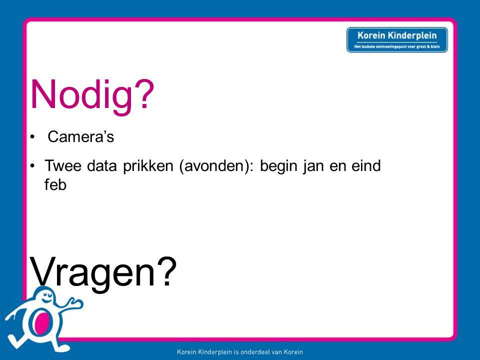 Nodig Camera's Twee data prikken (avonden): begin jan en eind feb Vragen