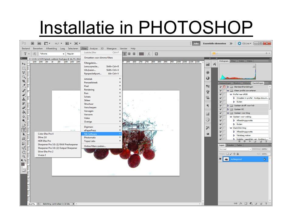 Installatie in PHOTOSHOP