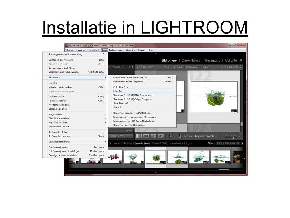 Installatie in LIGHTROOM
