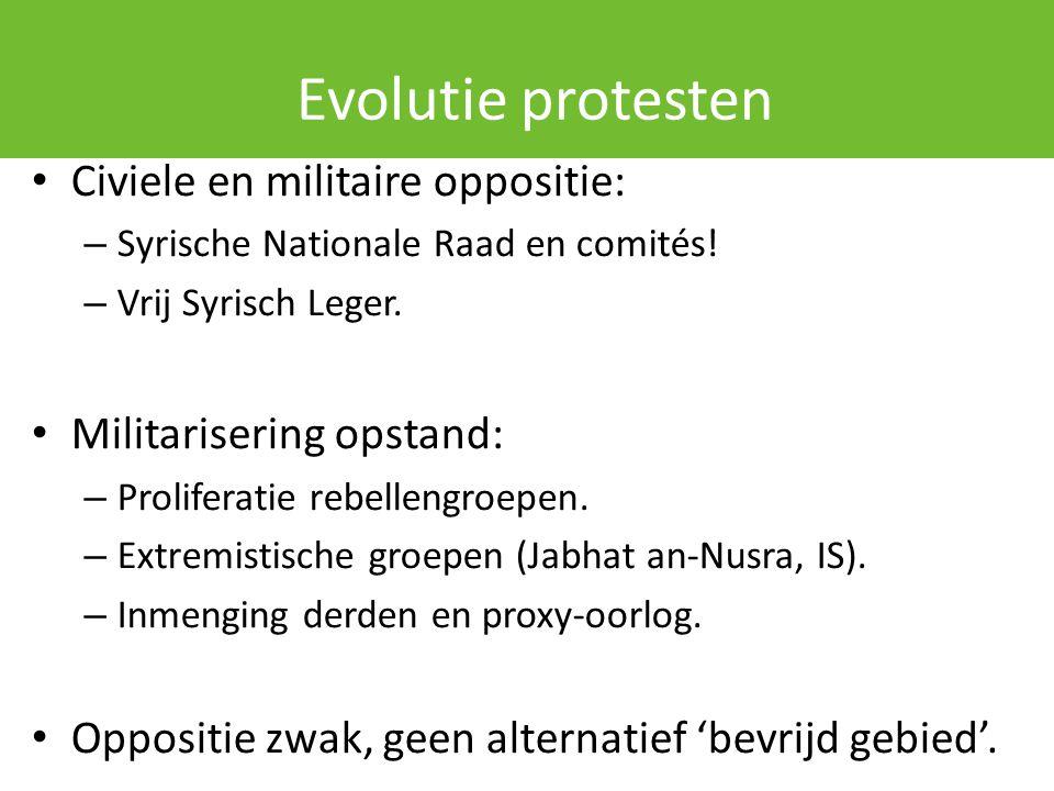 Evolutie protesten Civiele en militaire oppositie: