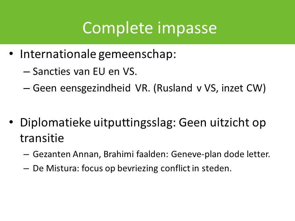 Complete impasse Internationale gemeenschap: