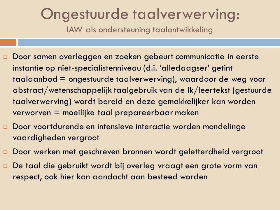 Ongestuurde taalverwerving: IAW als ondersteuning taalontwikkeling