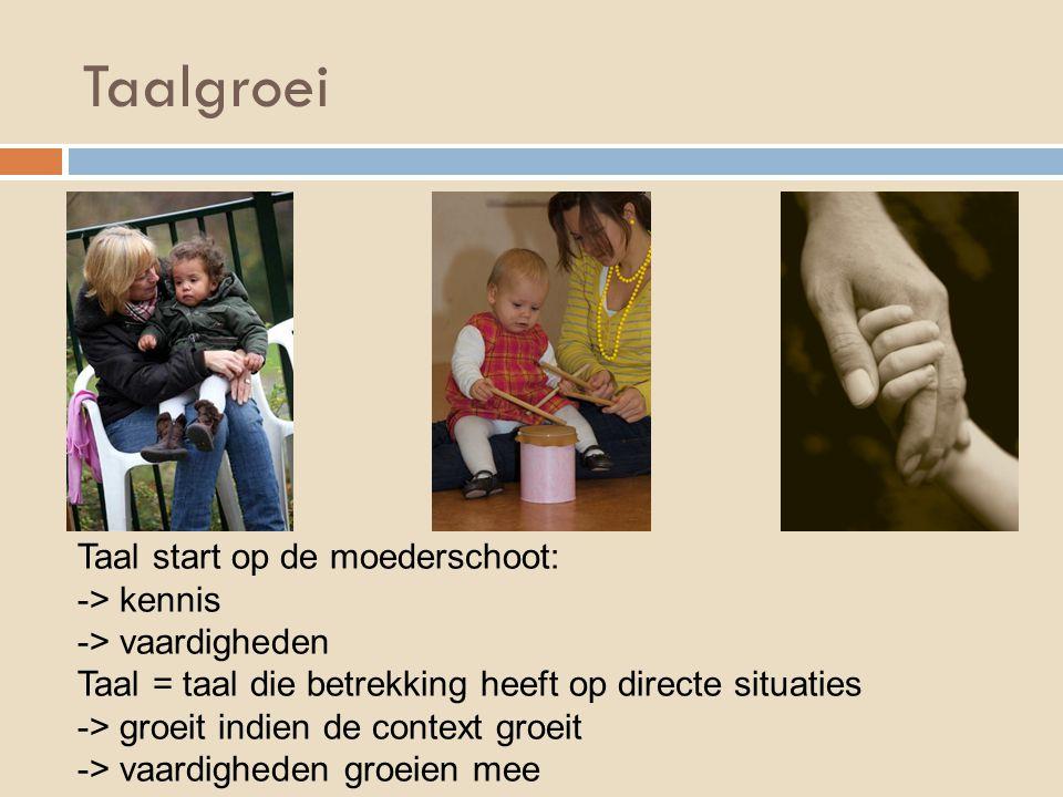 Taalgroei Taal start op de moederschoot: -> kennis