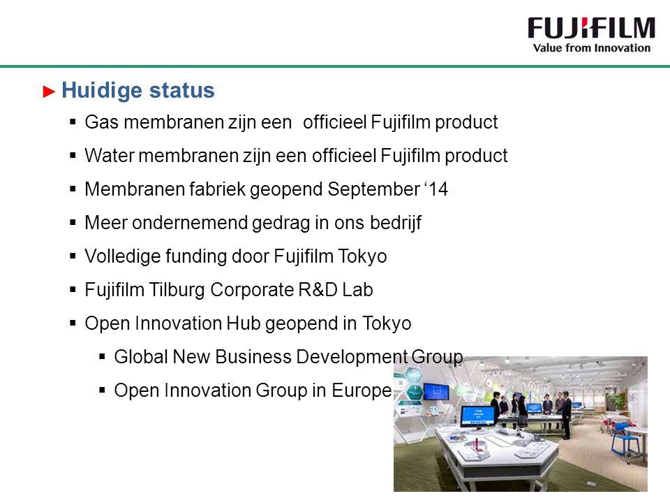 Huidige status Gas membranen zijn een officieel Fujifilm product