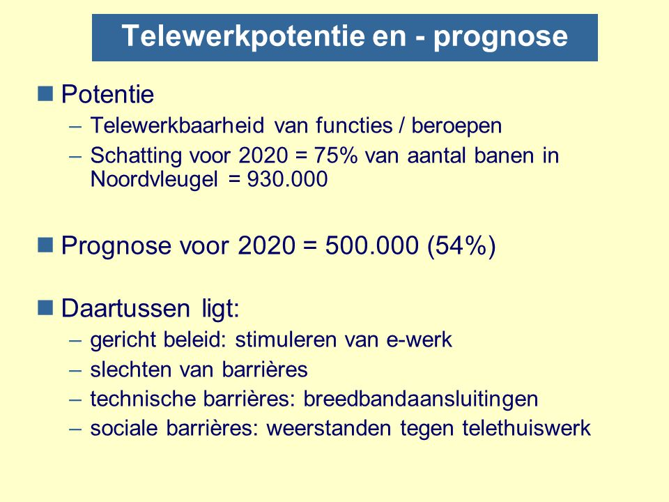 Telewerkpotentie en - prognose