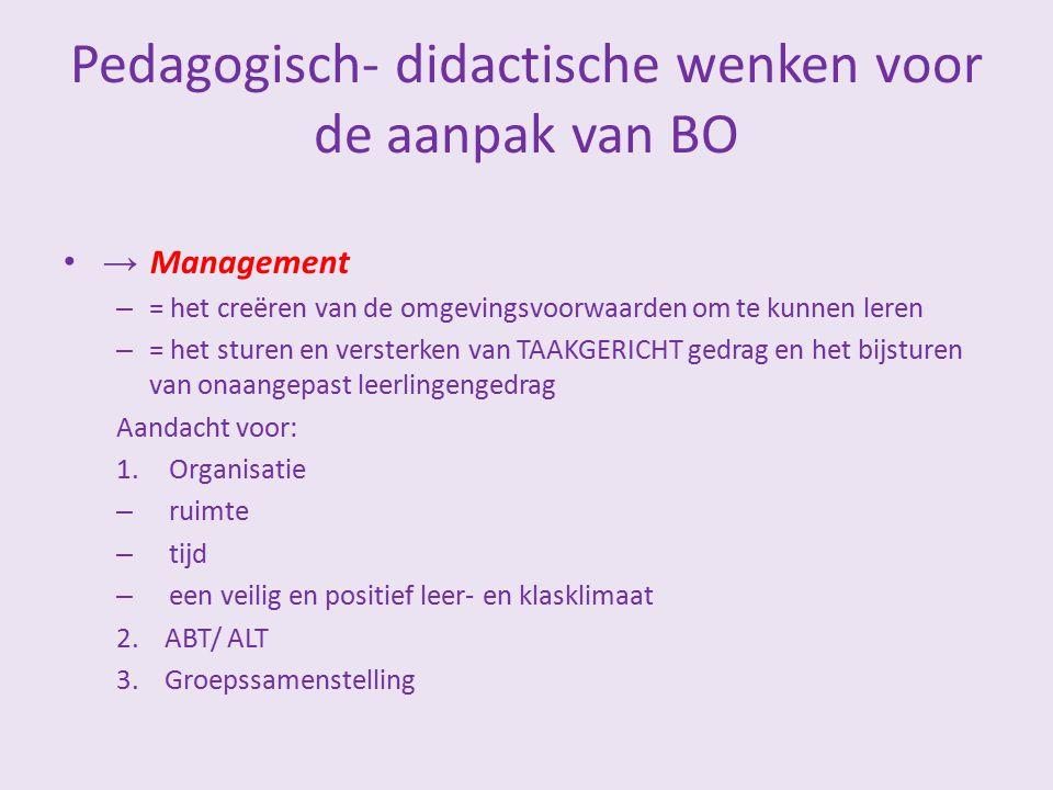 Pedagogisch- didactische wenken voor de aanpak van BO
