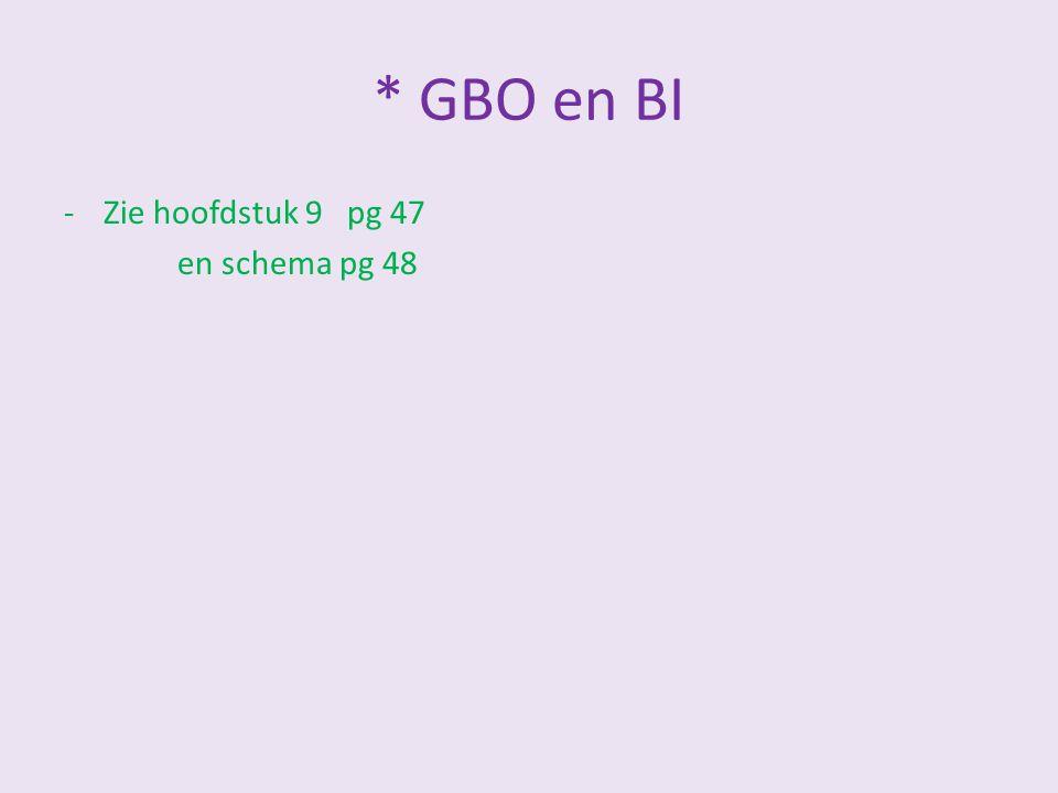 * GBO en BI Zie hoofdstuk 9 pg 47 en schema pg 48