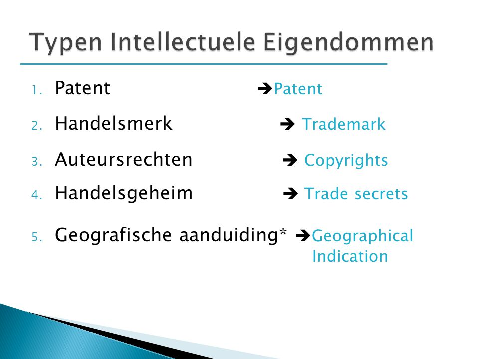 Typen Intellectuele Eigendommen