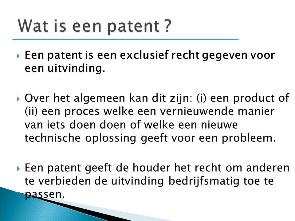 Wat is een patent Een patent is een exclusief recht gegeven voor een uitvinding.