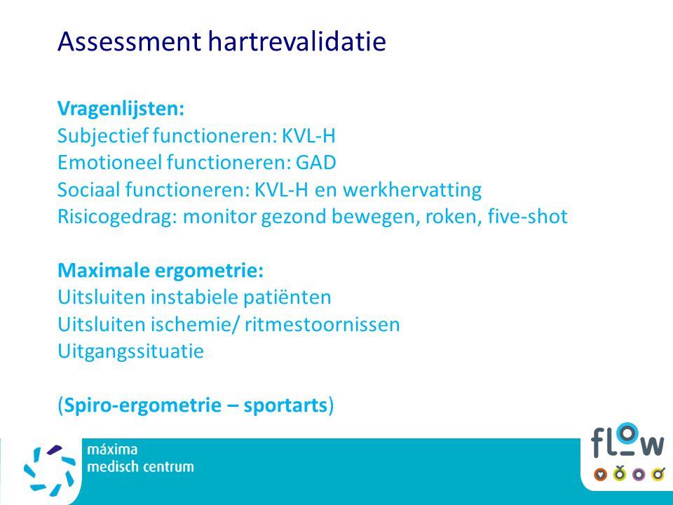 Assessment hartrevalidatie Vragenlijsten: Subjectief functioneren: KVL-H Emotioneel functioneren: GAD Sociaal functioneren: KVL-H en werkhervatting Risicogedrag: monitor gezond bewegen, roken, five-shot Maximale ergometrie: Uitsluiten instabiele patiënten Uitsluiten ischemie/ ritmestoornissen Uitgangssituatie (Spiro-ergometrie – sportarts)