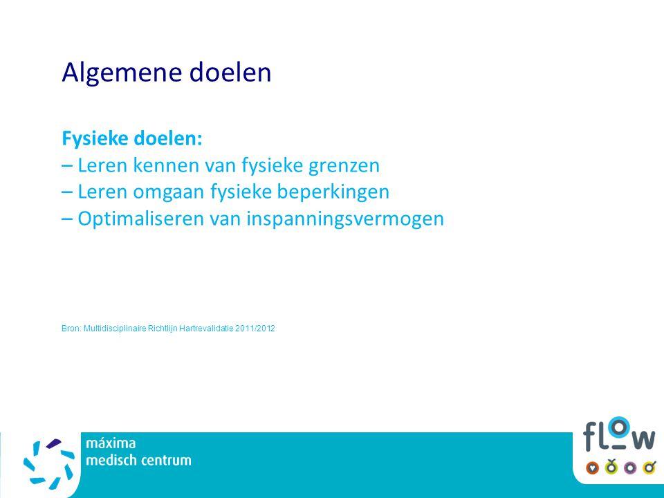Algemene doelen Fysieke doelen: – Leren kennen van fysieke grenzen – Leren omgaan fysieke beperkingen – Optimaliseren van inspanningsvermogen Bron: Multidisciplinaire Richtlijn Hartrevalidatie 2011/2012