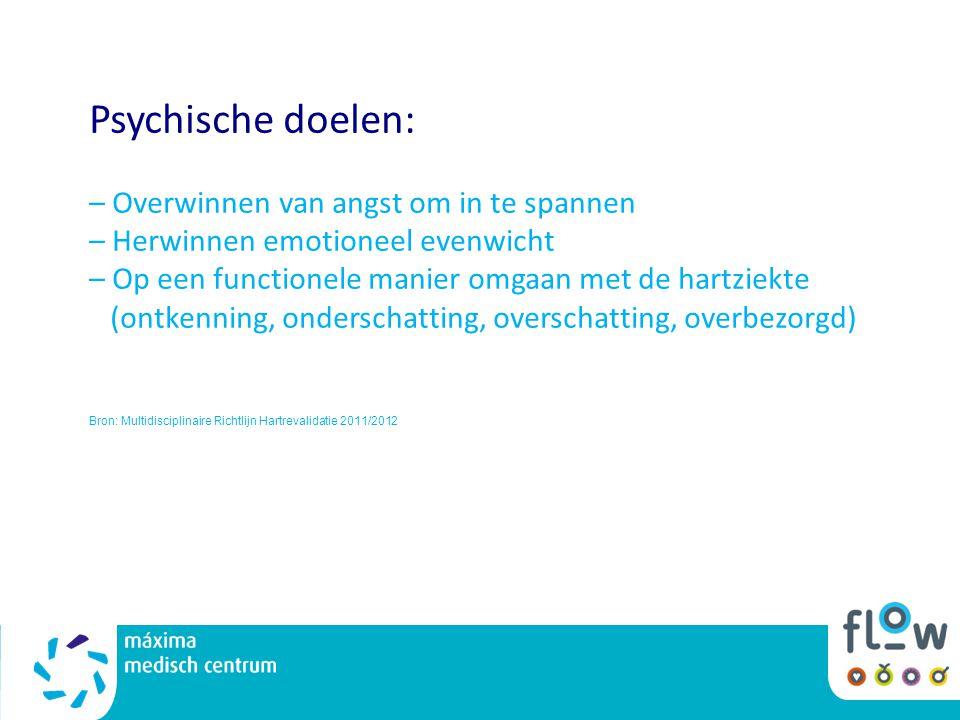 Psychische doelen: – Overwinnen van angst om in te spannen – Herwinnen emotioneel evenwicht – Op een functionele manier omgaan met de hartziekte