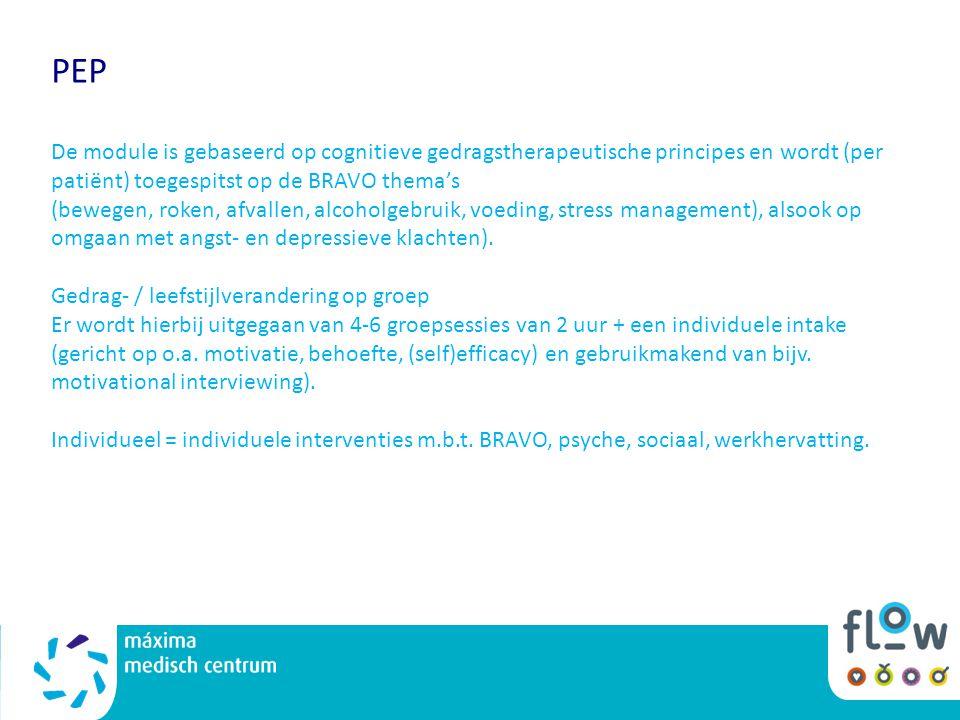 PEP De module is gebaseerd op cognitieve gedragstherapeutische principes en wordt (per patiënt) toegespitst op de BRAVO thema's (bewegen, roken, afvallen, alcoholgebruik, voeding, stress management), alsook op omgaan met angst- en depressieve klachten).