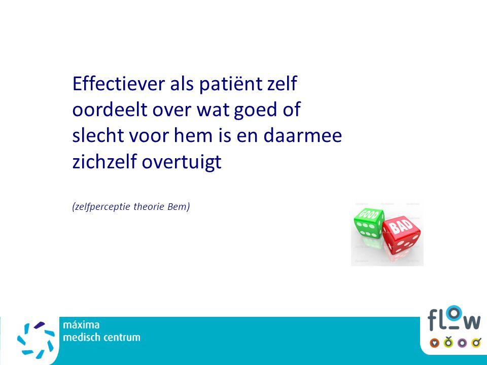 Effectiever als patiënt zelf oordeelt over wat goed of slecht voor hem is en daarmee zichzelf overtuigt