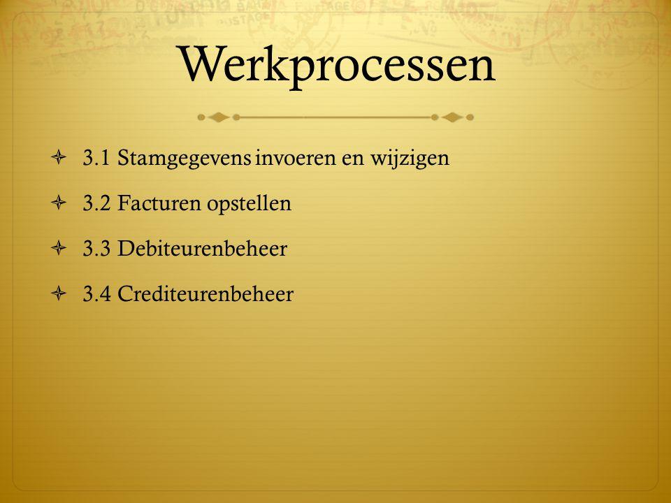 Werkprocessen 3.1 Stamgegevens invoeren en wijzigen