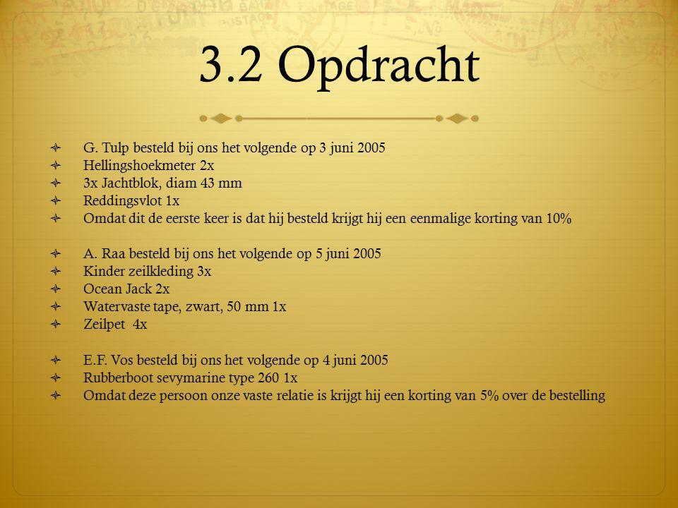 3.2 Opdracht G. Tulp besteld bij ons het volgende op 3 juni 2005