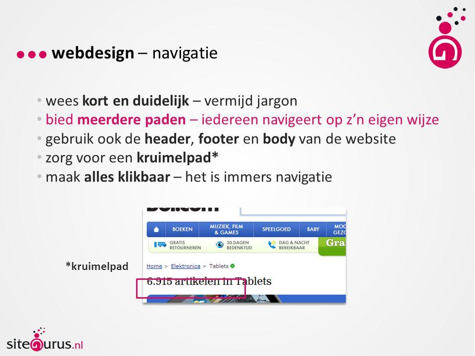 webdesign – navigatie wees kort en duidelijk – vermijd jargon