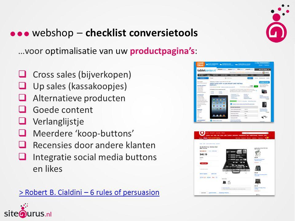webshop – checklist conversietools