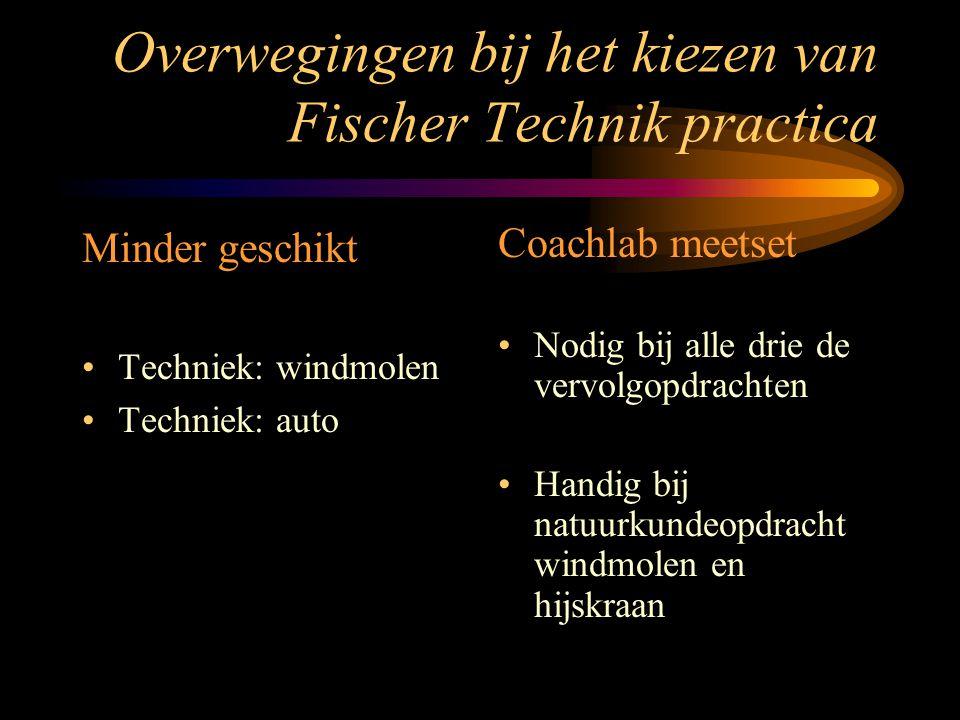 Overwegingen bij het kiezen van Fischer Technik practica