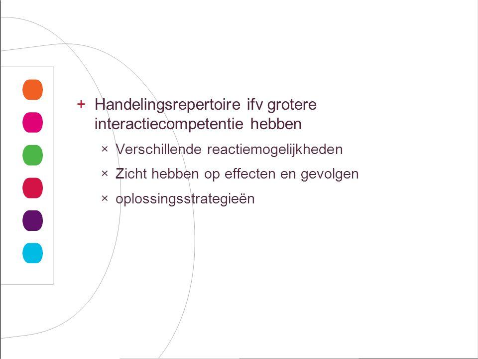 Handelingsrepertoire ifv grotere interactiecompetentie hebben