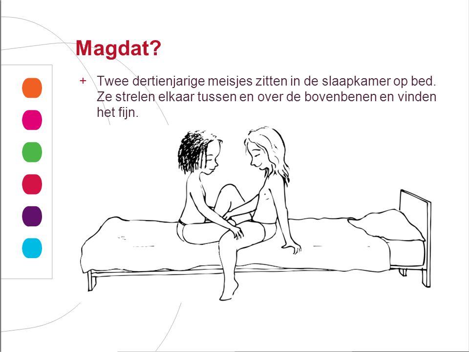 Magdat Twee dertienjarige meisjes zitten in de slaapkamer op bed. Ze strelen elkaar tussen en over de bovenbenen en vinden het fijn.