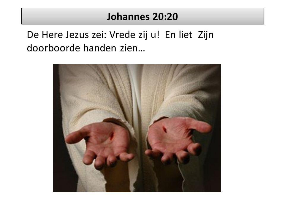 Johannes 20:20 De Here Jezus zei: Vrede zij u! En liet Zijn doorboorde handen zien…
