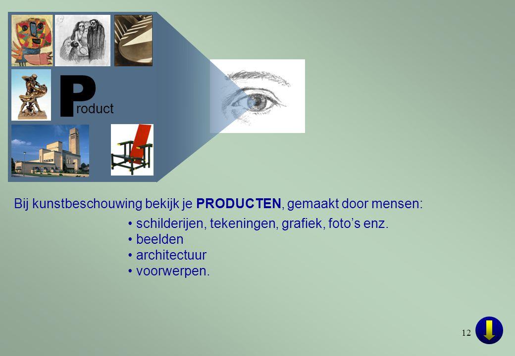 P roduct. Bij kunstbeschouwing bekijk je PRODUCTEN, gemaakt door mensen: • schilderijen, tekeningen, grafiek, foto's enz.