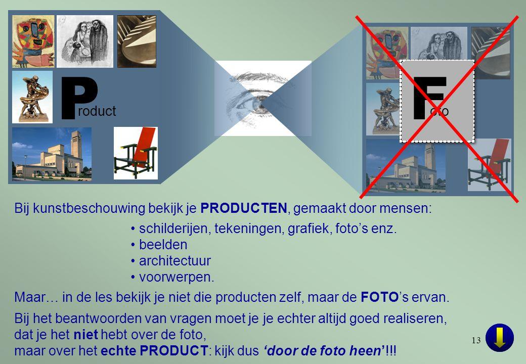 P roduct. F. oto. Bij kunstbeschouwing bekijk je PRODUCTEN, gemaakt door mensen: • schilderijen, tekeningen, grafiek, foto's enz.