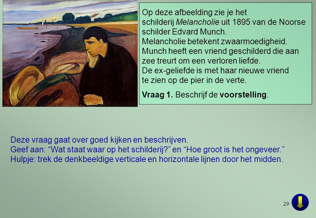 Op deze afbeelding zie je het schilderij Melancholie uit 1895 van de Noorse schilder Edvard Munch.