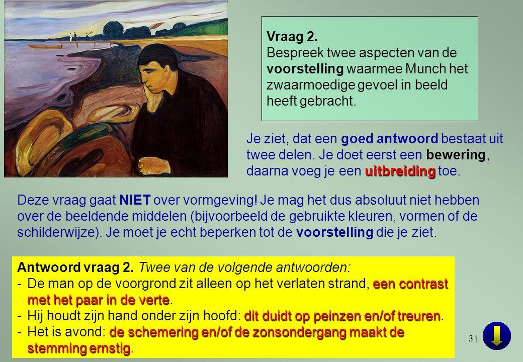 Vraag 2. Bespreek twee aspecten van de voorstelling waarmee Munch het zwaarmoedige gevoel in beeld heeft gebracht.