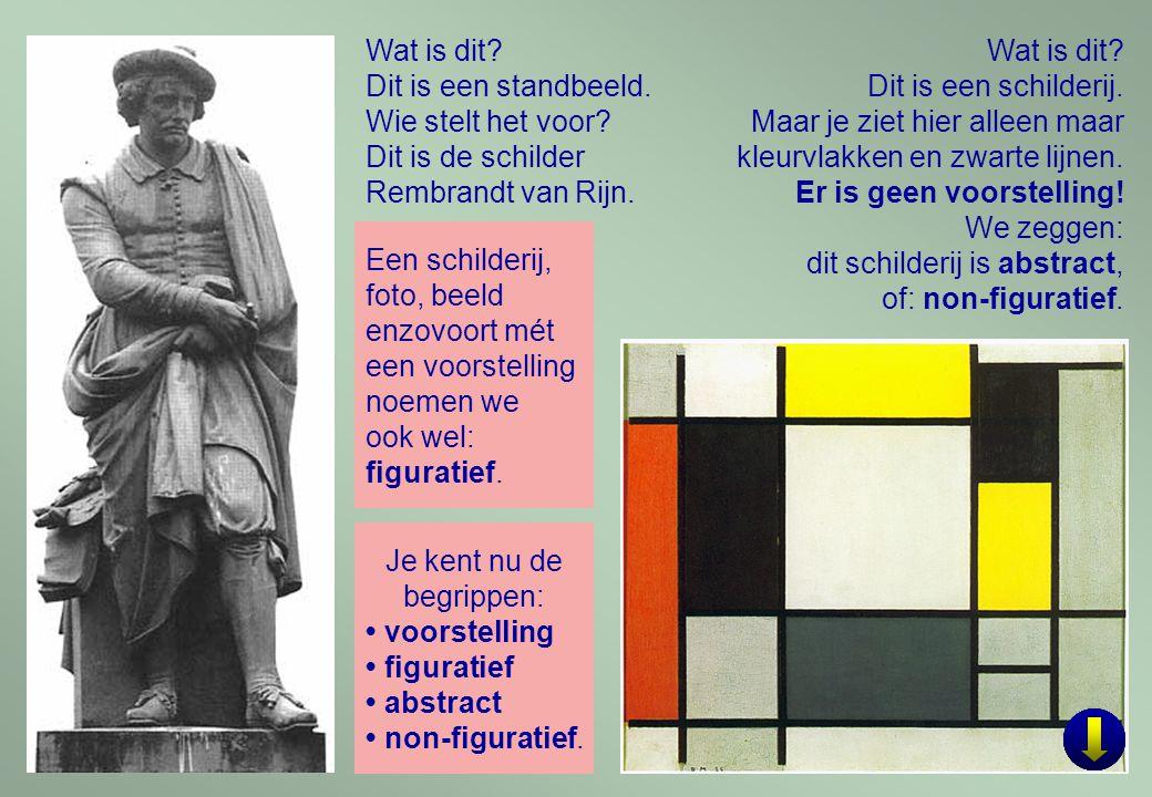 Wat is dit Dit is een standbeeld. Wie stelt het voor Dit is de schilder. Rembrandt van Rijn. Wat is dit